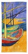 Fishing Boats On The Beach At Saintes Maries De La Mer Bath Towel