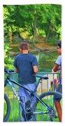Fishing Friends, Azay Le Rideau, Loire Valley, France Bath Towel