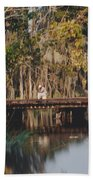 Fishing On The Bridge Bath Towel