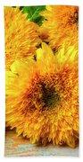 Five Exotic Sunflowers Bath Towel