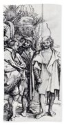 Five Lansquenets And An Oriental On Horseback 1495 Bath Towel
