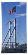 Flag On Perkins Cove Bridge - Maine Hand Towel