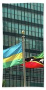 Flags Of Various Nations Outside The United Nations Building. Bath Towel