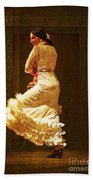 Flamenco Dancer #20 - The White Dress Bath Towel