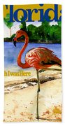 Flamingo In Florida Shirt Bath Towel