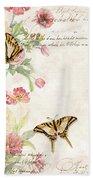 Fleurs De Pivoine - Watercolor W Butterflies In A French Vintage Wallpaper Style Bath Towel