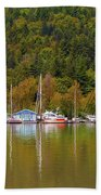 Floating Homes Along Multnomah Channel In Portland Oregon Hand Towel