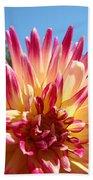 Floral Art Pink Yellow Dahlia Flower Baslee Troutman Bath Towel