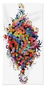 Floral Bouquet Abstract With Dots Bath Towel