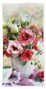 Floral Bouquet Table Setting In Tiny Bubbles Bath Towel
