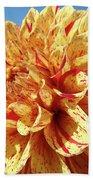 Floral Dahlia Flower Art Print Orange Red Dahlias Baslee Bath Towel