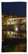 Florence Italy Night Magic - A Glamorous Evening At Ponte Vecchio Bath Towel