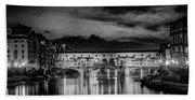 Florence Ponte Vecchio At Sunset Monochrome Bath Towel