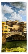 Florence -  Ponte Vecchio From The Northwestern Bank - Vintage Bath Towel