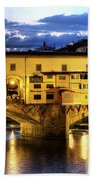 Florence - Ponte Vecchio Sunset From The Oltrarno Bath Towel