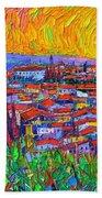 Florence Sunset 7 Modern Impressionist Abstract City Impasto Knife Oil Painting Ana Maria Edulescu Bath Towel