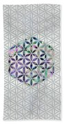 Flower Of Life Abalone Shell On Pearl Bath Towel