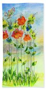 Flower Patch With Butterfly Bath Towel