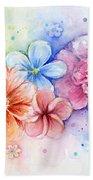 Flower Power Watercolor Bath Towel