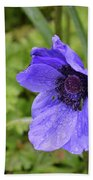 Flowering Purple Anemone Flower Blossom In A Garden Bath Towel