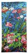 Flowering Shrub In Pink On Bright Blue 201676 Bath Towel