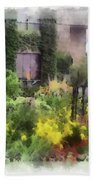 Flowers Along The Pathway Bath Towel