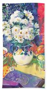 Flowers And Fruit In A Green Bowl Bath Towel
