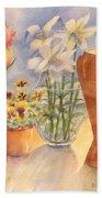 Flowers And Terra Cotta Bath Towel