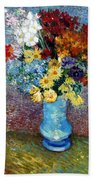 Flowers In A Blue Vase  Hand Towel