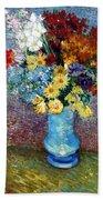 Flowers In A Blue Vase  Bath Towel