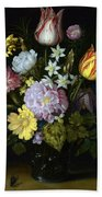 Flowers In A Glass Vase Bath Towel