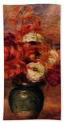 Flowers In A Green Vase Dahlilas And Asters Bath Towel