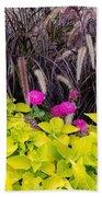 Flowers In Contrast Bath Towel