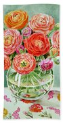 Flowers In The Glass Vase Hand Towel