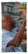 Flute Musician In New Orleans Bath Towel