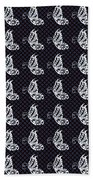 Fluttering Butterflies - Navy And White Bath Towel