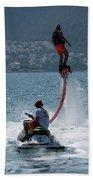 Flyboarder In Pink Shorts Above Jet Ski Bath Towel