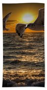 Flying Gulls At Sunset Bath Towel