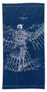 Flying Machine 1889 - Blue Bath Towel
