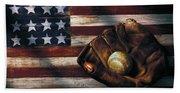 Folk Art American Flag And Baseball Mitt Bath Towel