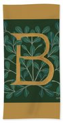 Forest Leaves Letter B Bath Towel