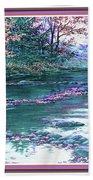 Forest River Scene. L B With Decorative Ornate Printed Frame. Bath Towel