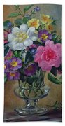Forget Me Nots And Primulas In Glass Vase Bath Towel