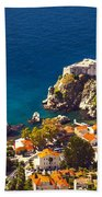 Fortress Of Dubrovnik From Above Bath Towel