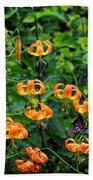 Four Butterflies On Turks Cap Lilies Bath Towel