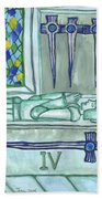 Four Of Swords Illustrated Hand Towel
