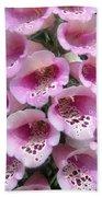 Foxglove Plant - Pink Bell Flowers. Macro Bath Towel