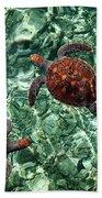 Fragile Underwater World. Sea Turtles In A Crystal Water. Maldives Bath Towel