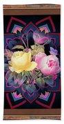 Framed Rose Bouquet Montage Bath Towel