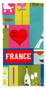 France Vertical Scene - Collage Bath Towel